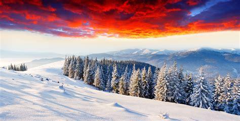 wallpaper winter mountains sunset  nature