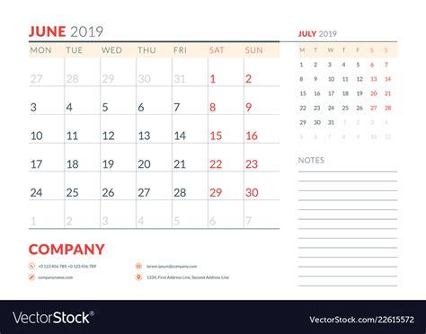 june  week starts  monday calendar planner vector image