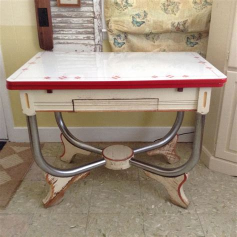 Vintage Enamel Kitchen Table 1940 S Vintage Porcelain Enamel Top Kitchen Table With Drawer Ebay