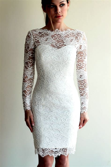 Bridesmaid Dress Patterns With Lace - knee length sheath sleeves lace wedding dress