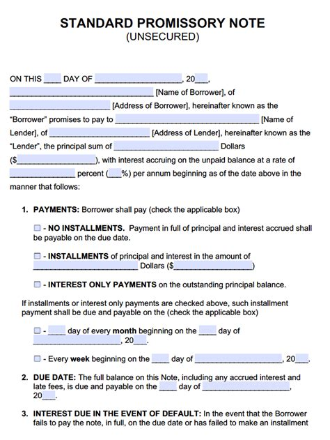 promissory note sle resume template
