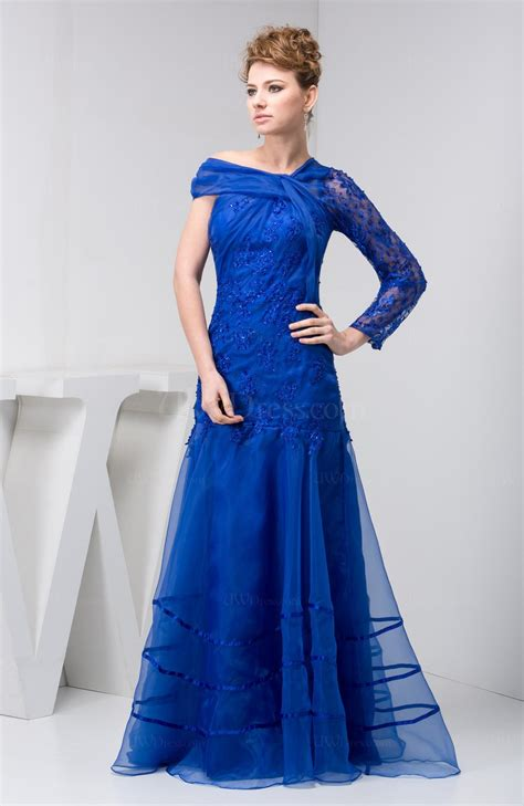 electric blue  sleeves bridesmaid dress lace