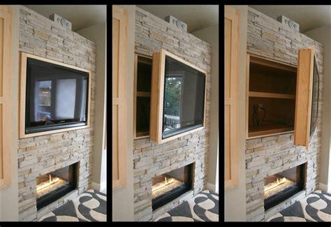 hiding tv in living room storage swinging tv cabinet modern living room portland by iverson
