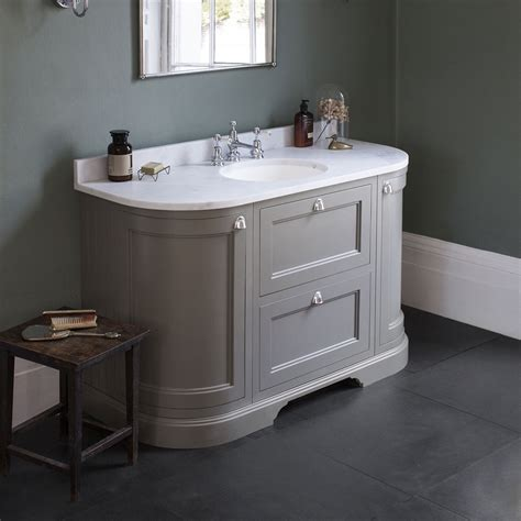 Vanity Bathroom Unit Burlington 134 2 Door Drawer Curved Vanity Unit Minerva Worktop With Basin Sand