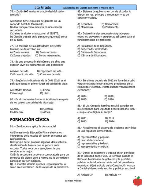 examen bimestral de 5 bimestre de cuarto grado examenes 5to grado bimestre 4