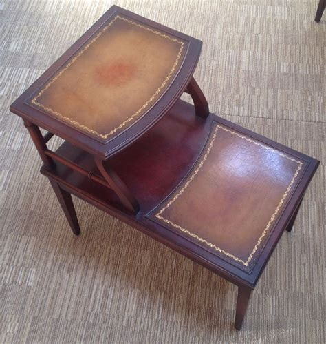 Top End Upholstery by Vintage Imperial Mahogany Leather Top Side End Table Ebay