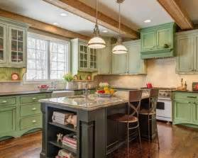 Green Kitchen Cabinet by French Country Kitchen Ideas With Black Rustic Island And
