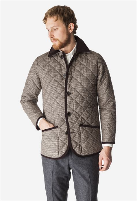Mackintosh Quilted Jacket by Mackintosh Brown Houndstooth Waverly Quilted Jacket