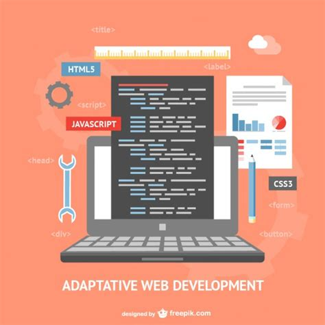free tutorial on website design and development adaptative web development vector vector free download