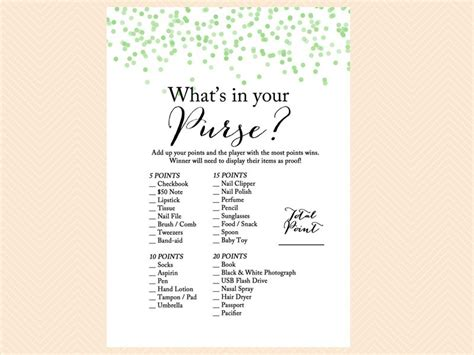 printable bridal shower what s in your purse game green confetti baby shower games magical printable
