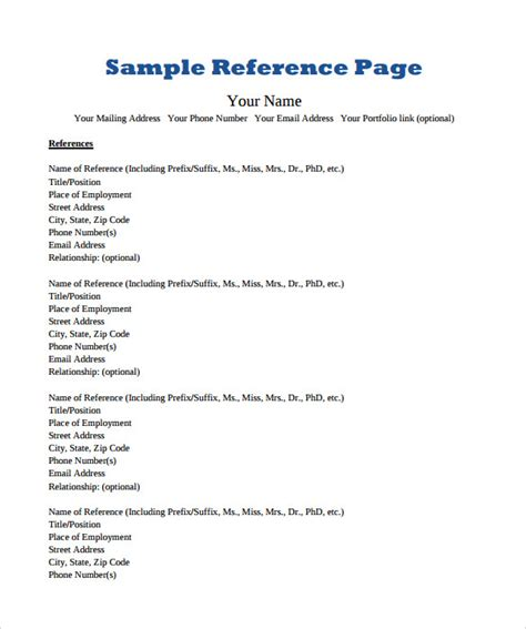 reference page templates     sample