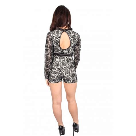 black and white patterned playsuit rihanna black and white long sleeve floral playsuit