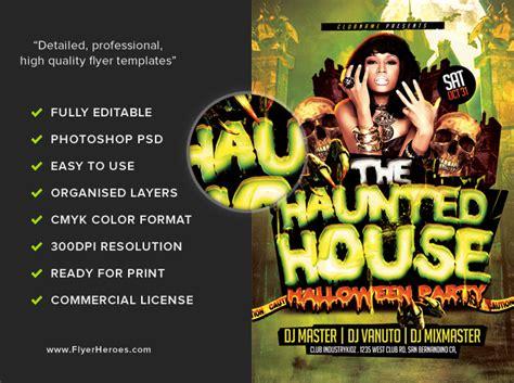 haunted house template haunted house halloween flyer template flyerheroes
