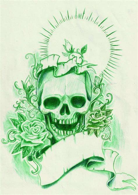 green skull roses tattoo sketch sketchs pinterest