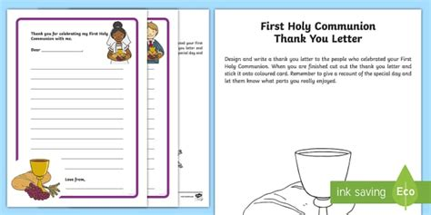 Thank You Letter Template Twinkl Holy Communion Thank You Letter Activity Sheet
