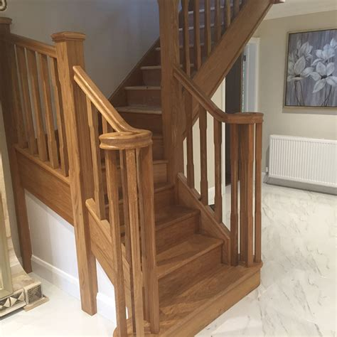 oak staircase with volute handrail shaw stairs ltd