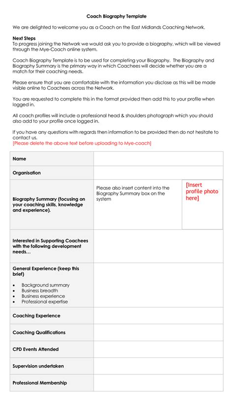biography checklist biography template sle employee biography template