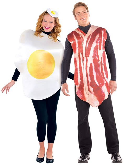 Egg Bacon Patch Unisex Couples Bacon And Egg Costume Food Fancy Dress Mens