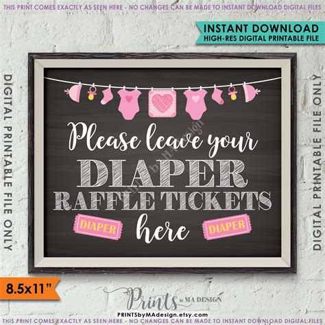 A Place Tickets Raffle Ticket Sign Leave Your Raffle Ticket Here Raffle Ticket Drop Baby Shower Sign