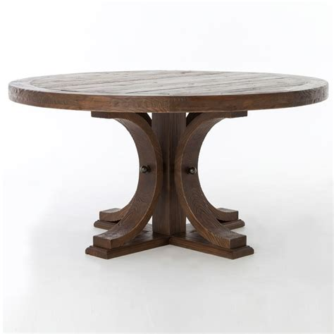 60 round wood table lugo reclaimed wood 60 round pedestal dining table zin home