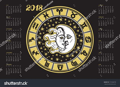 new year song astro 2018 2018 new year calendarhoroscope circle zodiac stock vector