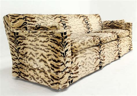 tiger pattern fabric mid century modern sofa at 1stdibs