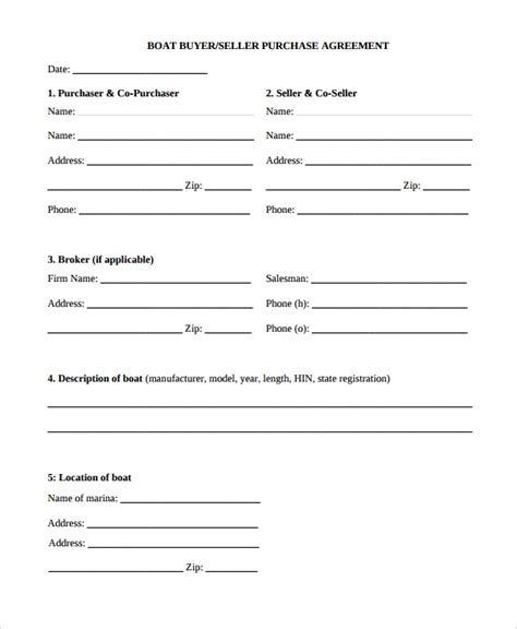 8 Purchase Agreements Exles Templates Sle Templates Boat Purchase Contract Template