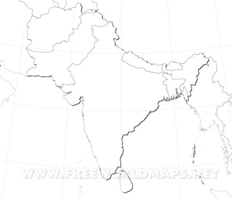 Outline Map Of Indian Subcontinent by Blank Map Of South Asia My