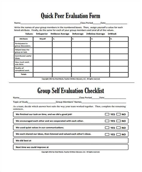 Peer Essay Evaluation Form by Evaluation Forms