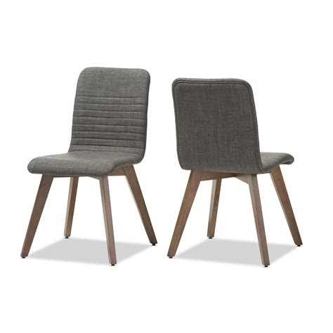 Modern Style Dining Chairs Baxton Studio Sugar Mid Century Retro Modern Scandinavian Style Grey Fabric Upholstered