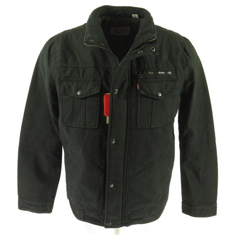 Levis Jacket 1 levis black denim jacket mens m tab new with tags quilted liner the clothing vault