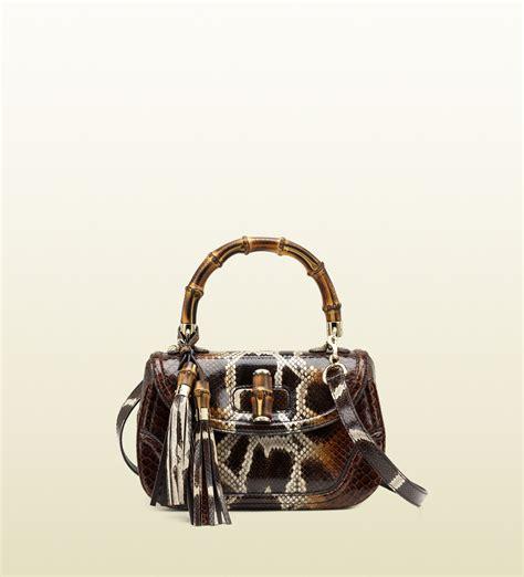 Kaos Kerah Dolce Gabbana Mirror 1 1 Gucci New Bamboo Python Top Handle Bag In Animal Bamboo
