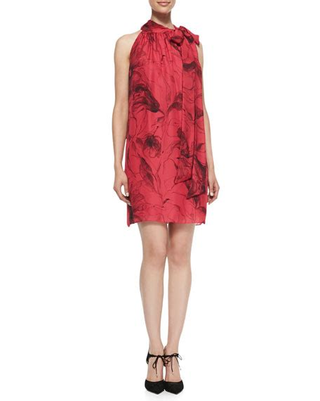 Tie Neck Silk Dress milly tie neck floral print silk dress