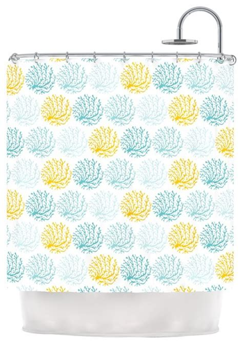 teal and yellow shower curtain anchobee quot coralina quot teal yellow shower curtain