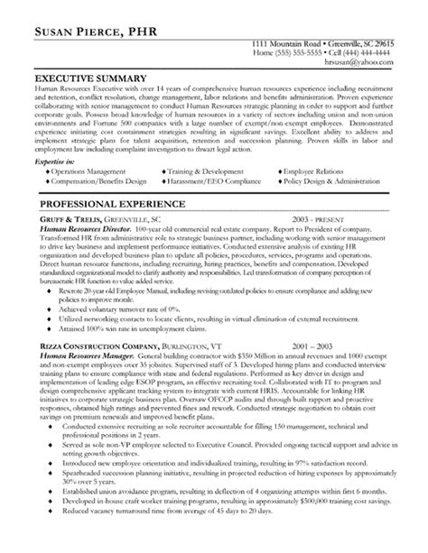 human resource resume exles sle of human resource resume the best