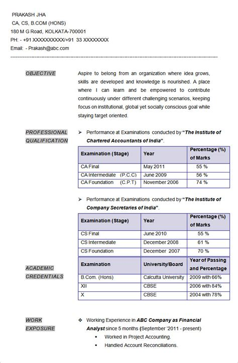 best resume format for chartered accountant accounting resume templates 16 free sles exles