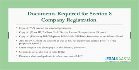 requirements for section 8 what are the documents required for section 8 company