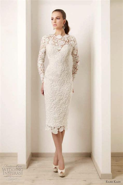 wedding dresses ivory lace long sleeves tea length