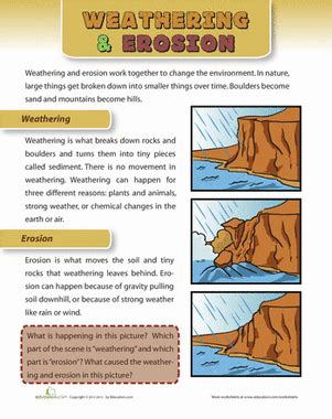 Weathering And Erosion Worksheets by Weathering And Erosion Worksheet Education