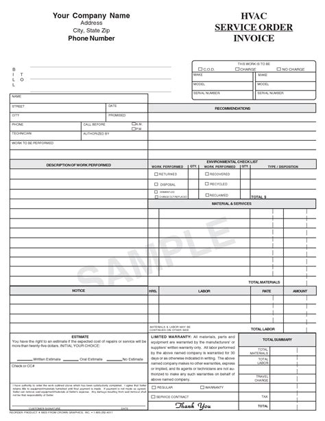 hvac service invoice template free air conditioning service report template mickeles