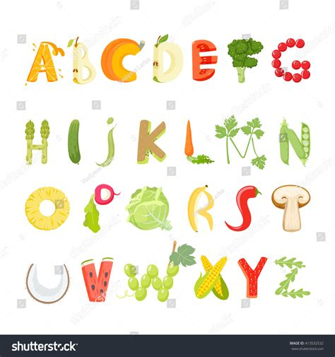 up letter with food food alphabet made of vegetables and fruits vegetables