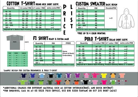 Shirt Price List Images T Shirt Price List Template