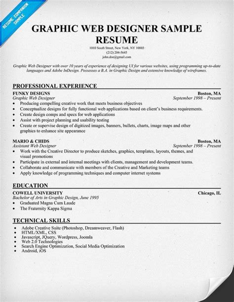 graphic web designer resume sle resumecompanion