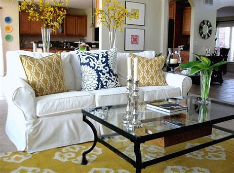 yellow slipcovers for sofas yellow and white slip covered sofa decoist