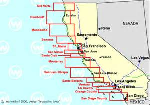 california surf map california surfing in california united states of