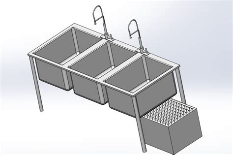 3 compartment kitchen sink with grease trap step iges