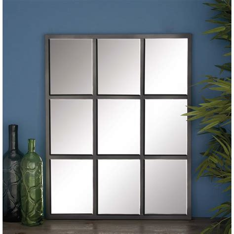 33 in x 26 in 9 panel gray framed wall mirror 53379