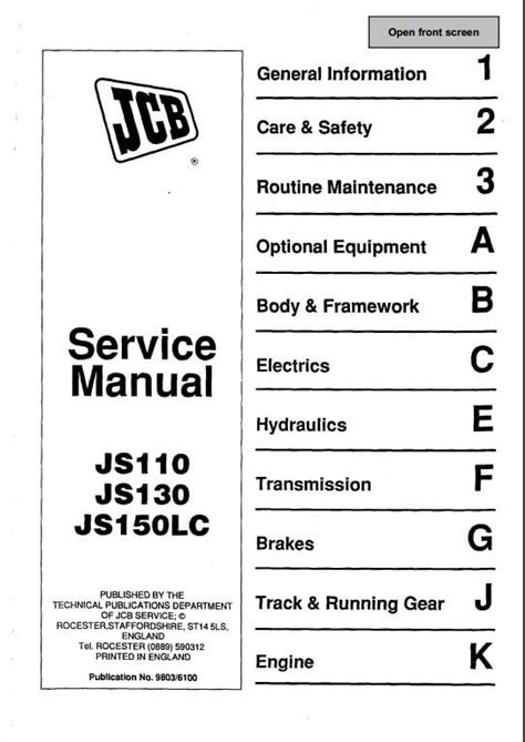 jcb js130 wiring diagram jcb js 130 service manual