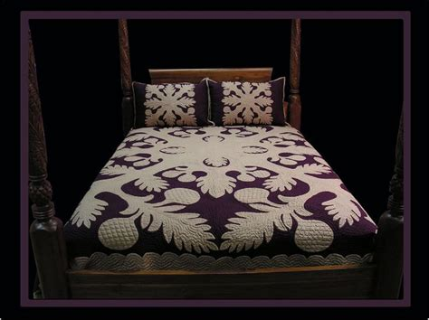 Hawaiian Quilt Bedding by Hawaiian Quilt Ulu In Mocha On Plum Hawaiian Quilts Food Patterns And Patterns