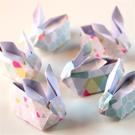 Bunny Origami - diy origami easter bunny baskets gathering